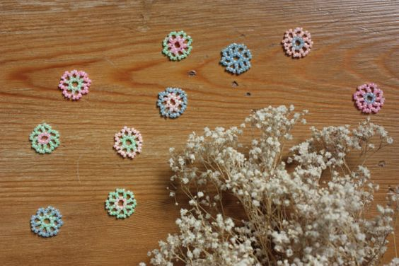 10 Beaded Spring Flowers Table Confetti; Pastel Pink, Peach, Mint, & Blue; Table Decor; Table Scatter; Wedding Confetti; Party Confetti