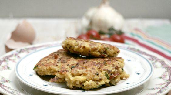 galettes boulgour - quinoa - coppa - chèvre