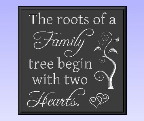 """Decorative Wood Sign Plaque Wall Decor with Quote """"The roots of a Family tree begin with two Hearts."""" Carved and Painted 11.25""""x11.25"""" Black/Antique White by TimberCreekDesign.com, http://www.amazon.com/dp/B0041T7HSE/ref=cm_sw_r_pi_dp_JVxDqb0VJXGP2 organisation at www.perpatuatree.com"""