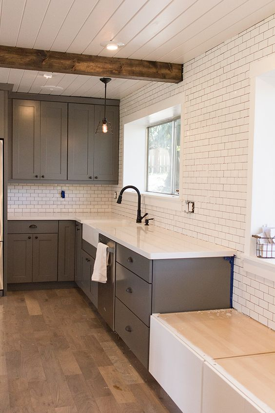 WOOD CEILINGS AND SUBWAY TILES: