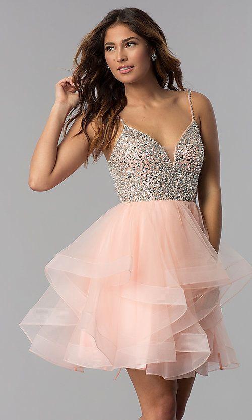 Short Blush Pink Beaded V Neck Homecoming Dress Cutelightpinkdresses Idee Vestito Abiti Vestiti Eleganti Scollati Dietro