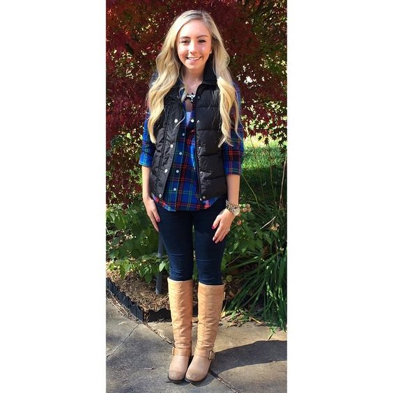 { Fall Uniform } 💙 Tap Photo For Details!! #OOTD #FallUniform #Plaid #Denim #DateDay #PuffyVest #StatementNecklace #InstaStyle #WIW #Blogger #WhatIWore #SouthernStyleGuide