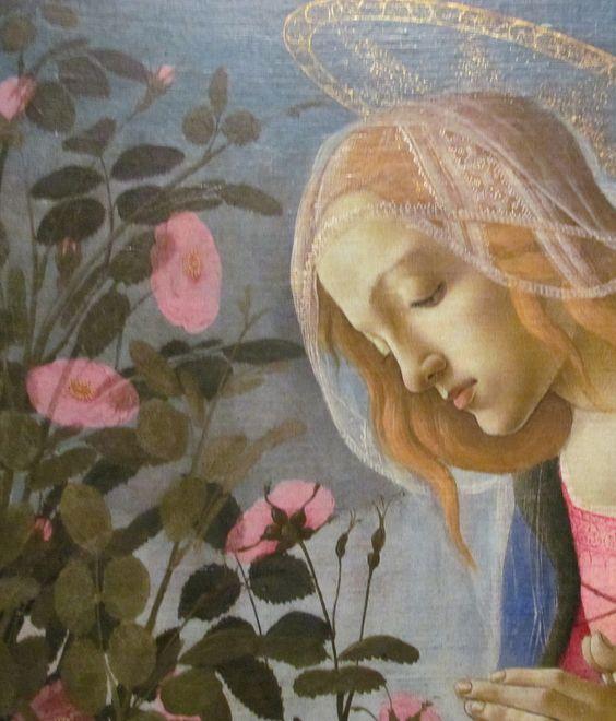 Sandro Botticelli - Madonna che adora il Bambino addormentato, dettaglio - c.1490 - tempera e oro su tela - National Gallery of Scotland, Edimburgo: