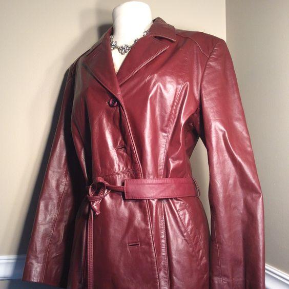 Vintage Etienne Aigner Burgundy leather Coat with belt   Coats ...
