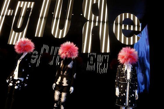 "he Metropolitan Museum of Art, ""Punk: Chaos to Culture"" From left, looks from Yohji Yamamoto, Viktor & Rolf and Chanel. Photo by Thomas Iannaccone, via WWD.com"