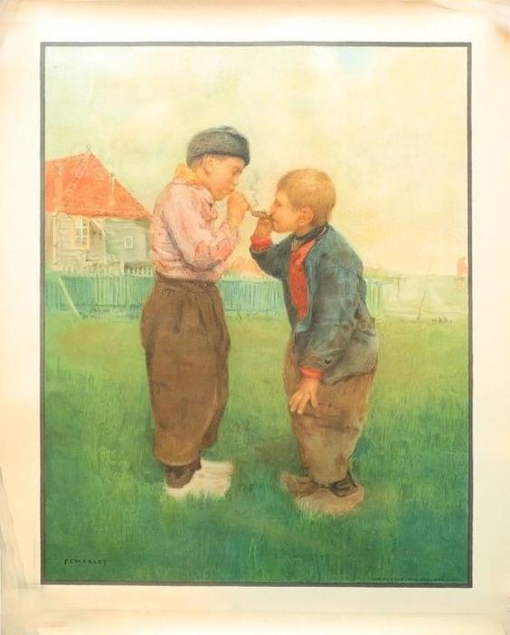 Oude poster van Volendams tafereel door F. Charlet. Gevonden op Marktplaats