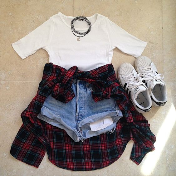 shorts + white top + flannel + white sneakers