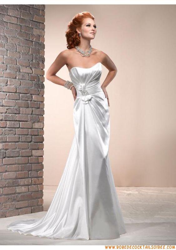 Belle robe de mariée blanche et brillante 2013 satin stretc...