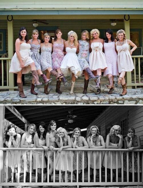 Great idea for bridesmaid dresses!! Miranda Lambert's Wedding. Country Wedding. Bride & Bridesmaids.