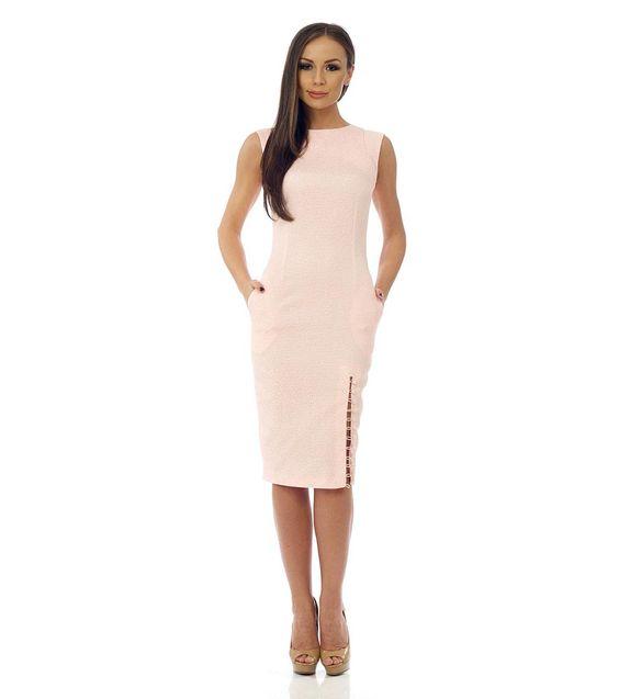 Rochie în roz-deschis cu buzunare - Haine de damă - 4 Lilou - graţie feminină şi stil - Rochii