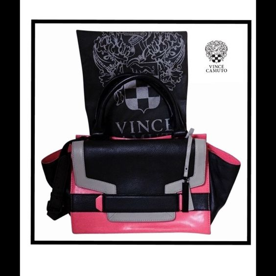 "VINCE CAMUTO COLOR BLOCK GERI SATCHEL FINAL $⬇️ Life is beautiful...it should be simple and fun~ Vince Camuto ~Designer Brand: Vince Camuto  Collection:  Geranium  Color:Pink, Black, Gray -Colorblock~Design:  Convertible~Satchel, Shoulder Bag, Cross Body Fabric: Leather  Closure: Zip Top  Lining: Signature Vince Camuto woven jacquard Size:13""L bottom 18"" at top X 9""H X 5""W  Strap Drop 16"" Adjustable.  Handles Drop 5.5"" Hardware: metal with black finish. Dust Bag Inc. Ret:$248 NWOT (tag ring…"