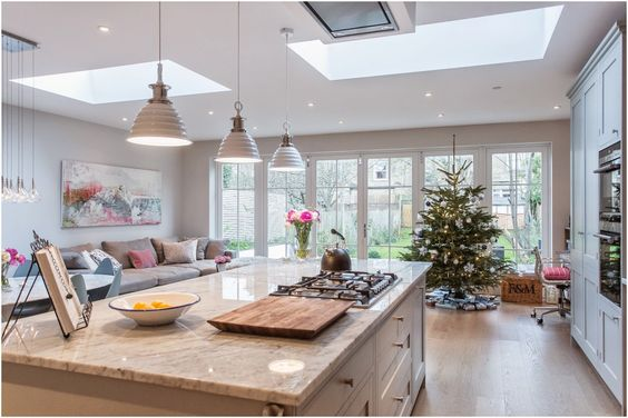 Laura Butler-Madden - London Kitchen, Christmas Tree, Jessica Zoob, Roundhouse, New England Doors,  Farrow & Ball, Ammonite, Lamp Room Grey.