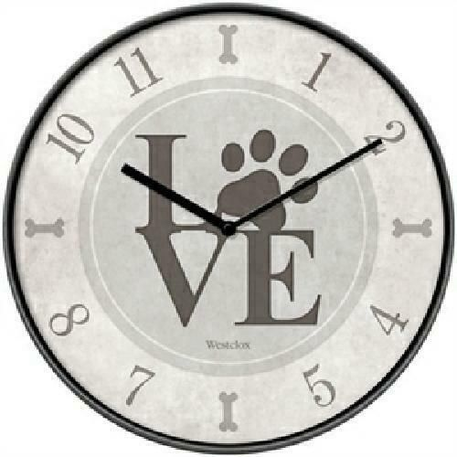 Westclox 10 Round Dog Lover Wall Clock Battery Operated Paws Love Usa Seller Westclox Americana Wall Clock Clock 10 Things