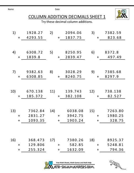 5th grade math worksheets – Column Addition Worksheets Ks1
