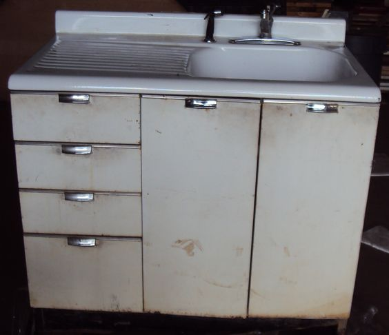 Best Vintage Kitchen Sink Cabinet Enamel Steel W Drawers 400 x 300