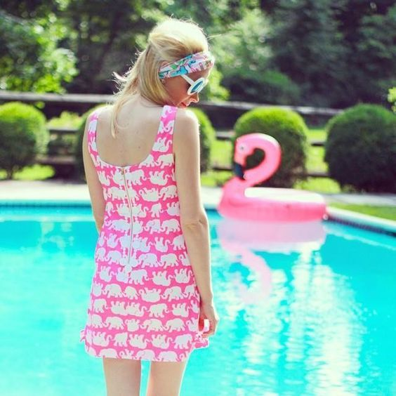 Via @teggyfrench Instagram- Lilly Pulitzer Delia Shift in Pop Pink Tusk in Sun:
