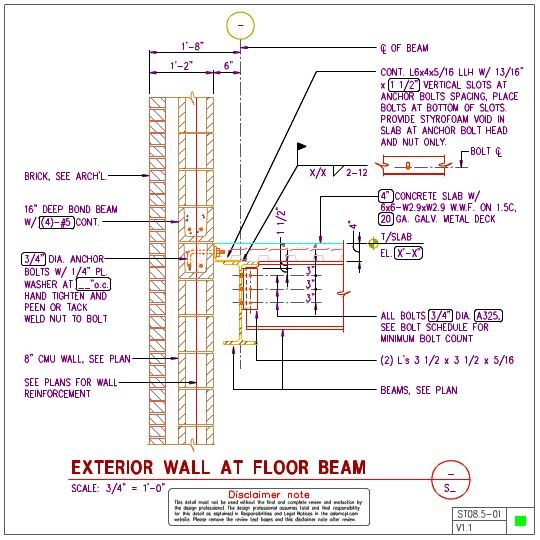 Exterior Wall At Floor Beam Steel Structure Beams Anchor Bolt