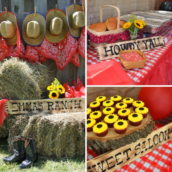 Backyard Western Party Ideas : These wooden signs are perfect for a countrywestern party, and they