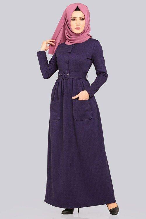 Modaselvim Elbise Dugmeli Kislik Elbise Ukb4029 Mor Dresses High Neck Dress Neck Dress