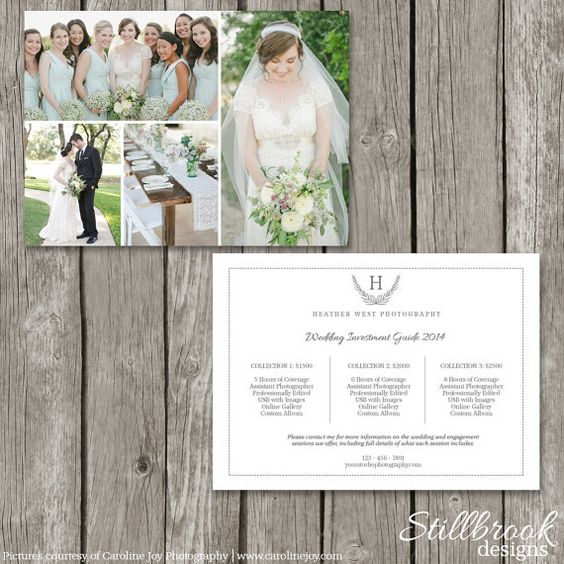 How To Advertise Your Wedding Photography Business: Photography Price List Template Card