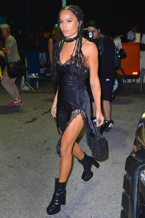 Zoe Kravitz at the Alexander Wang New York Fashion Week SS17 show in a lace-trim negligee slip dress with chunky ankle boots and a buckle choker