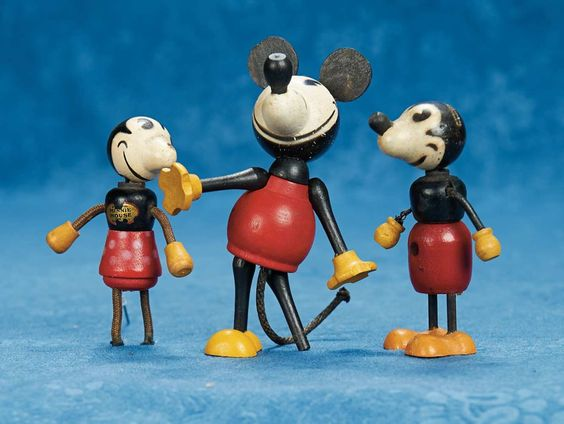 cm.) A trio of early wooden Mickey Mouse characters Circa 1930 ...