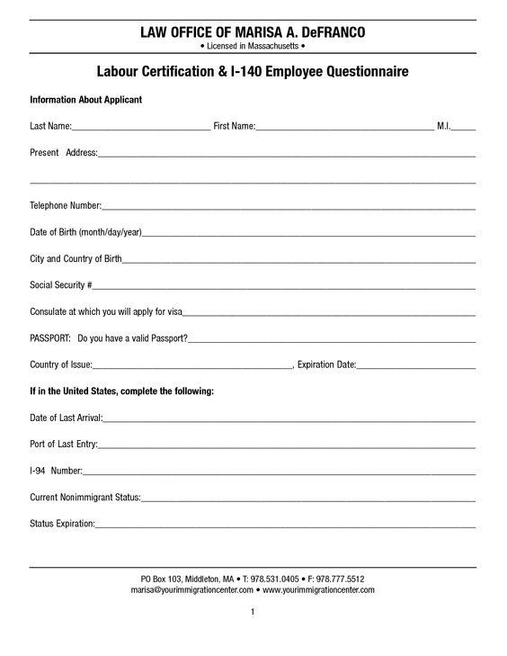Labour Certificate Employee Questionnaire Pinterest - patient satisfaction survey template