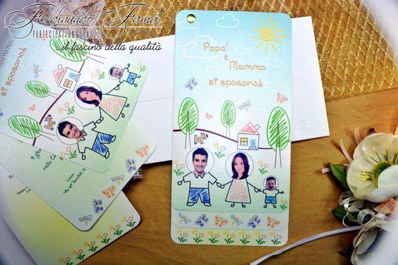 Partecipazioni di nozze con disegnini infantili con foto del figlio ...