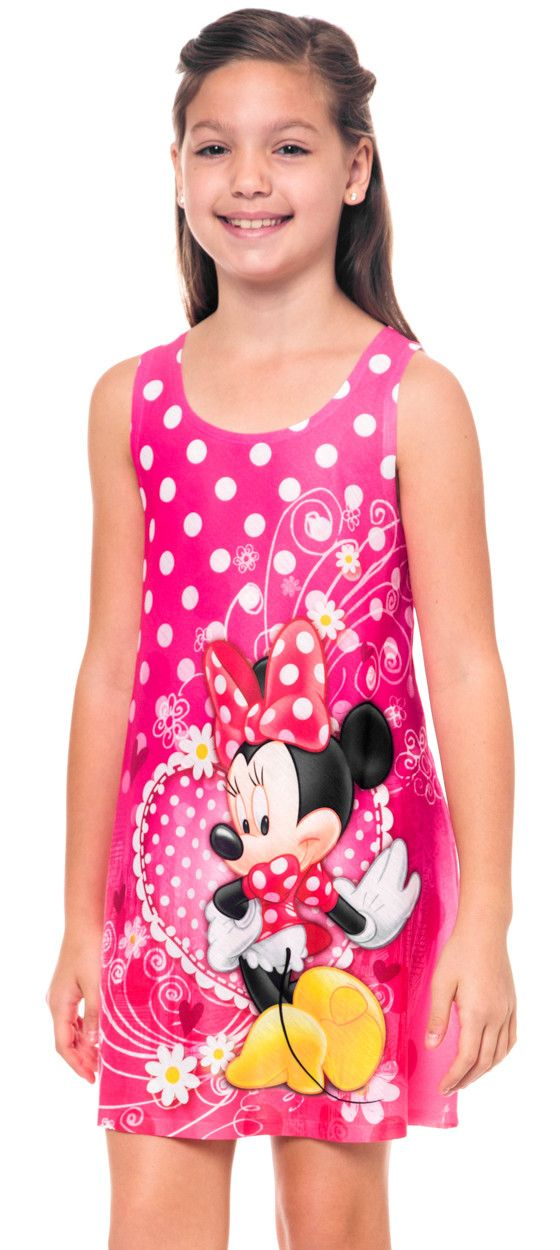 Disney Minnie Mouse Girls Tank Dress Polka Dot Flowers Pink