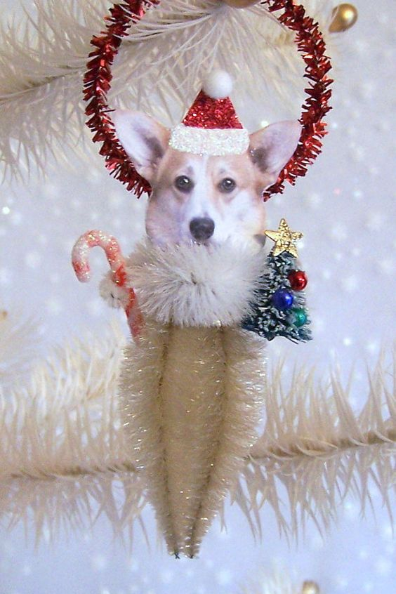 Corgi Christmas Ornament Feather Tree by TreePets on Etsy, $12.00