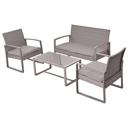 4pc Patio Furniture Set Cushioned Outdoor Wicker Rattan Garden