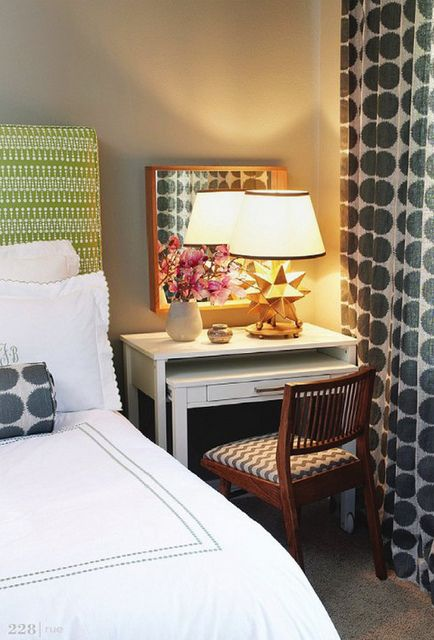 more and more I am liking the idea of a desk/side table // fab small space idea.