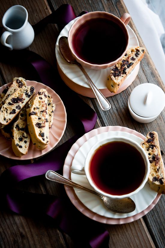 Dark Chocolate Chip and Currant Biscotti..  recipe...to dunk...