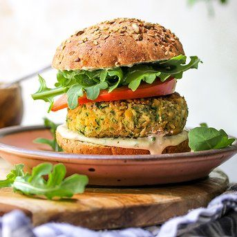 Zucchini Chickpea Veggie Burgers With Tahini Ranch Sauce Recipe Veggie Burger Homemade Veggie Burgers Vegan Burger Recipe