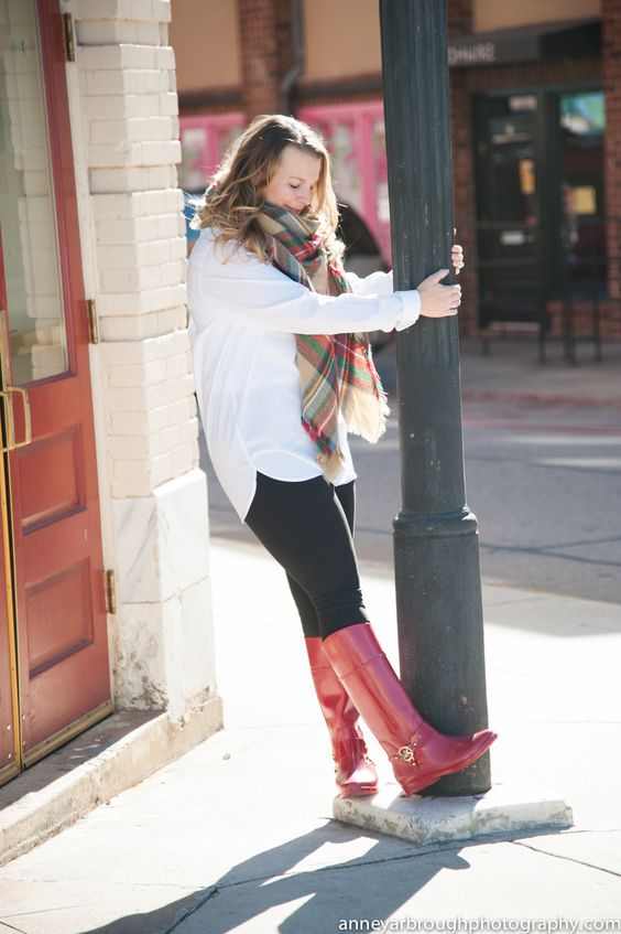 Wild Souls: Blanket Scarf, Red Michael Kors Rain Boots / Wellies, and White Button Down Tunic