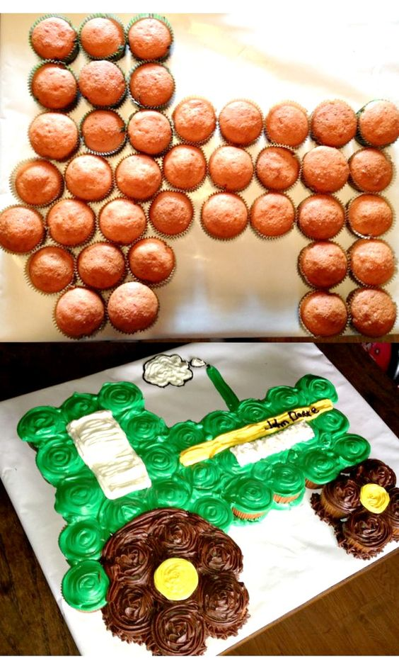 Make in mini Tec red cupcakes and put on top of green tinted Costco sheet cake. Use pretzel sticks for fence.
