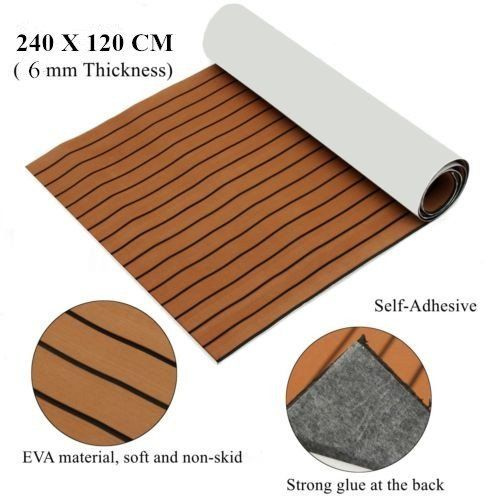 Eva Light Brown Foam Faux Teak Decking Sheet With Black Seam Marine 35 X 94 6mm Thick Yacht Flooring Marine Flooring Foam Flooring