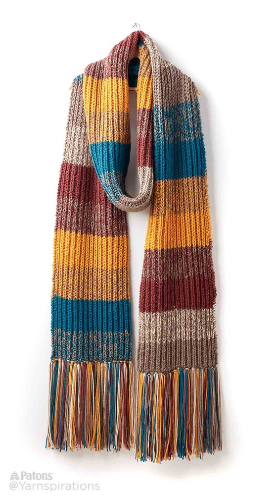 Marl Stripe Knit Super Scarf - Patterns Yarnspirations Super Scarf Pint...