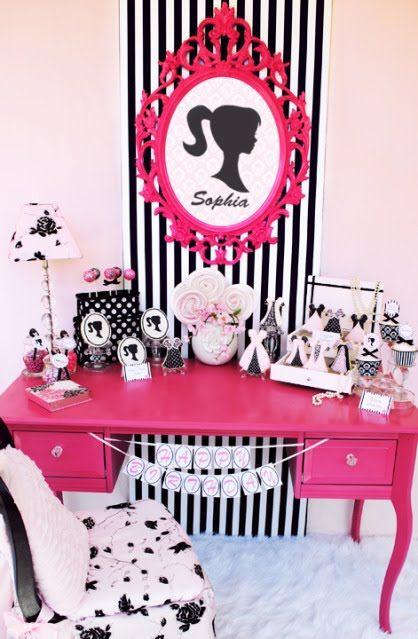 Festinha Barbie Silhueta Preto e Pink!