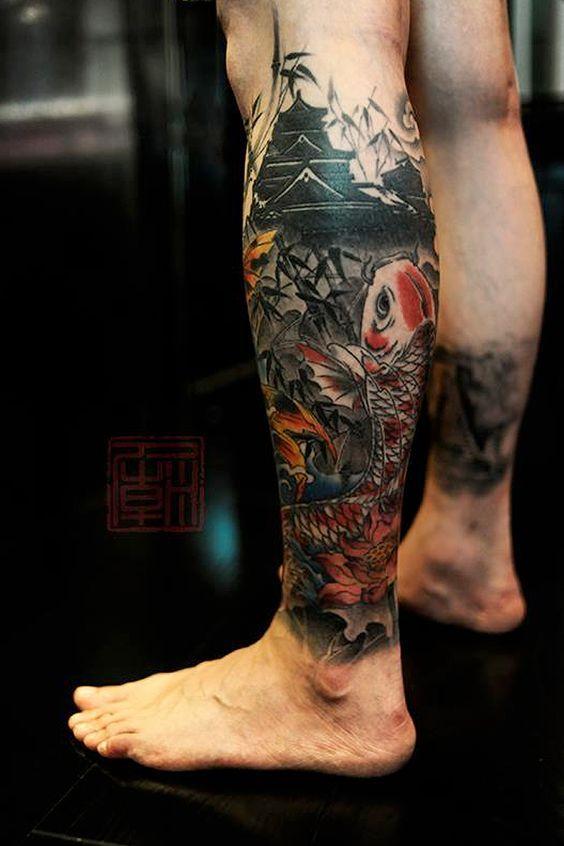 Amazing Calf Tattoos Designs For Men Tatuagem Tatuagem Carpa Na Perna Tatuagens Orientais Masculinas