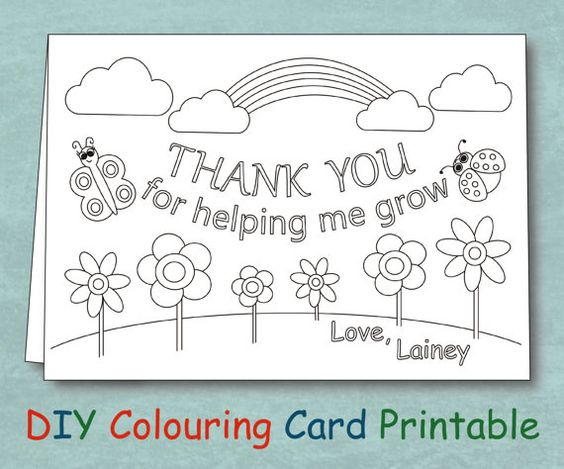 Thank you cards, Coloring and Teacher thank you cards on ...