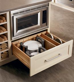 Extra storage cabinet drawers and stove on pinterest for Kraftmaid microwave shelf