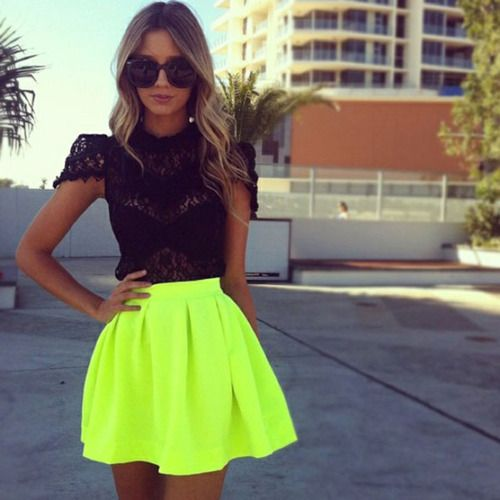 Neon skirt, black lace top