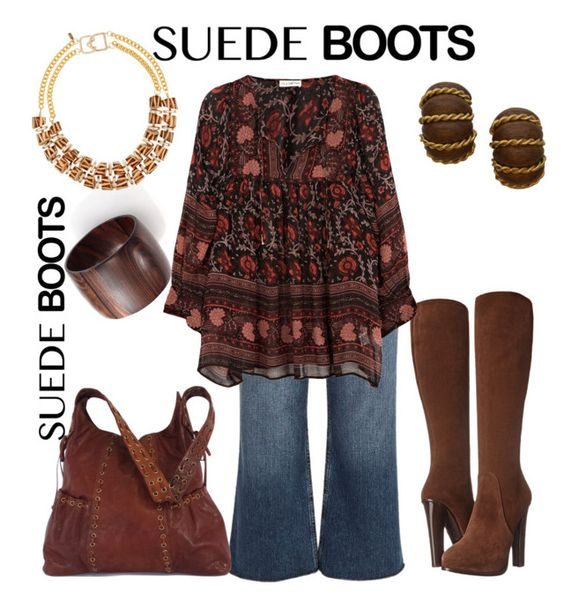 """""""Suede Boots"""" by dawndyb ❤ liked on Polyvore featuring Ralph Lauren Collection, River Island, Nest, Ulla Johnson, Seaman Schepps, Kenneth Jay Lane and Kooba"""