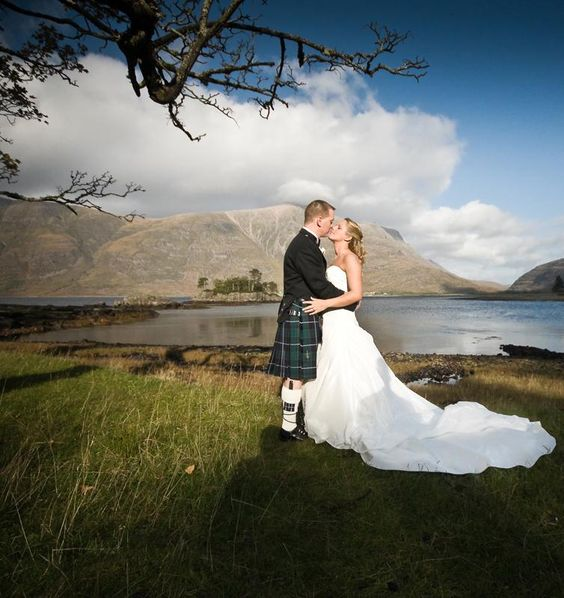 For a wedding in Scotland, nothing is quite as festive as a groom in a kilt, wouldn't you say?: