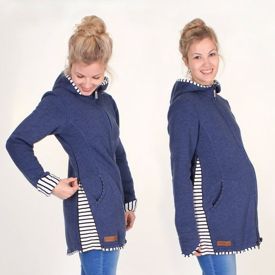 Viva la Mama | Baby Carrying Jacket VIVID (3in1- jeansblue/striped). Hoody for pregnancy, maternity, baby wearing and everyday use. The baby will be save and warm in this beautiful baby wearing jacket. A perfect present for birth or baby shower.