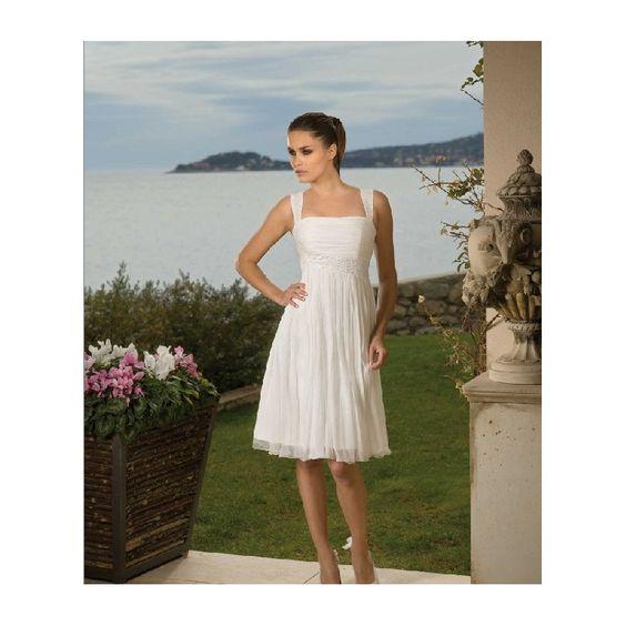 Brideswardrobe Wedding Dress - Spaghetti strap tissue chiffon bridal dressHA-370