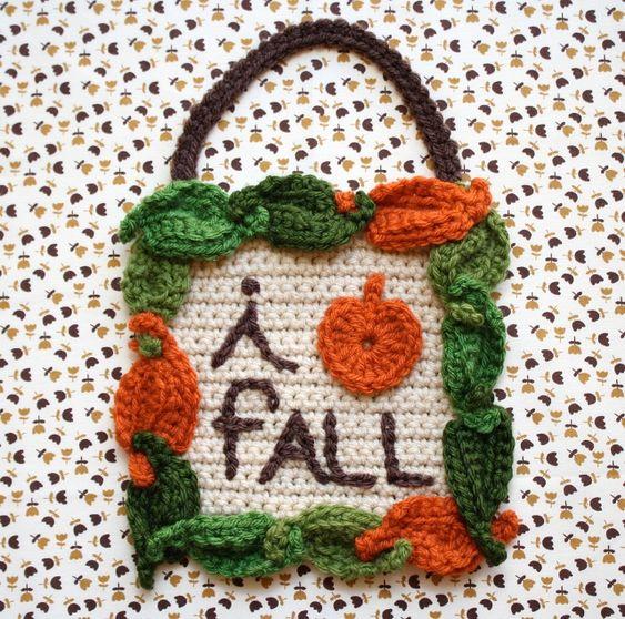 "one sheepish girl: ""I Love Fall"" Crochet Sign. Includes #DIY tutorial."