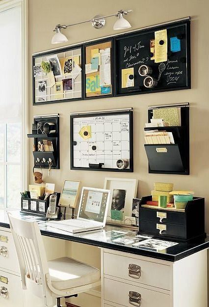 Creating an efficient, workable space in your home office isnt difficult! Simply assemble all of your essentials for staying organized and pair with a chic desk and comfortable office chair to help your productiveness!: