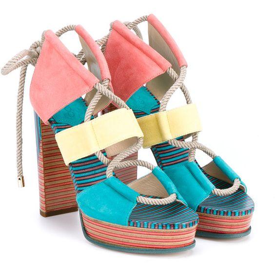 Multicolor Platform Sandals